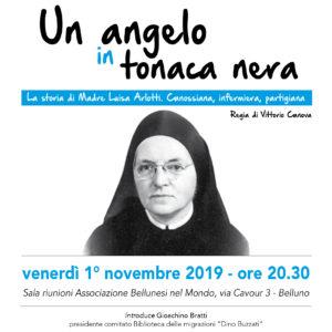 """256. """"Un angelo in tonaca nera"""". Il 1° novembre all'Abm la storia di Madre Luisa Arlotti, canossiana, infermiera e partigiana"""