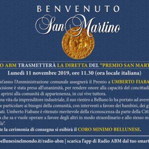 Radio ABM trasmetterà la diretta della consegna Premio San Martino 2019 – lunedì 11 novembre