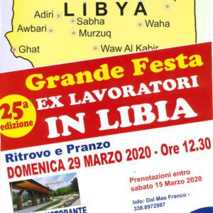 La locandina dedicata alla raduno degli ex lavoratori in Libia.