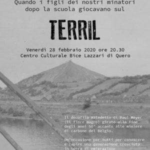 La locandina del docufilm Terril