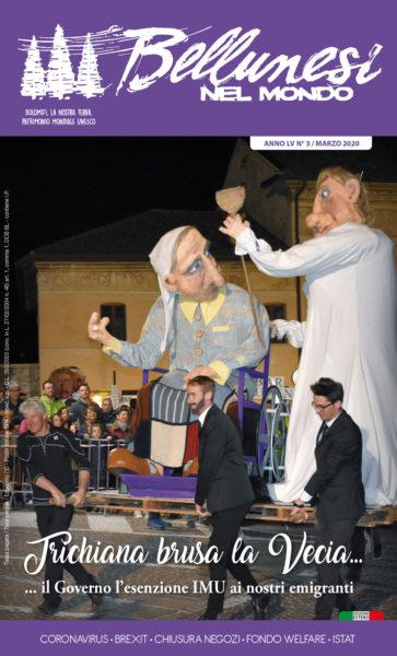 La copertina del numero di marzo di Bellunesi nel mondo