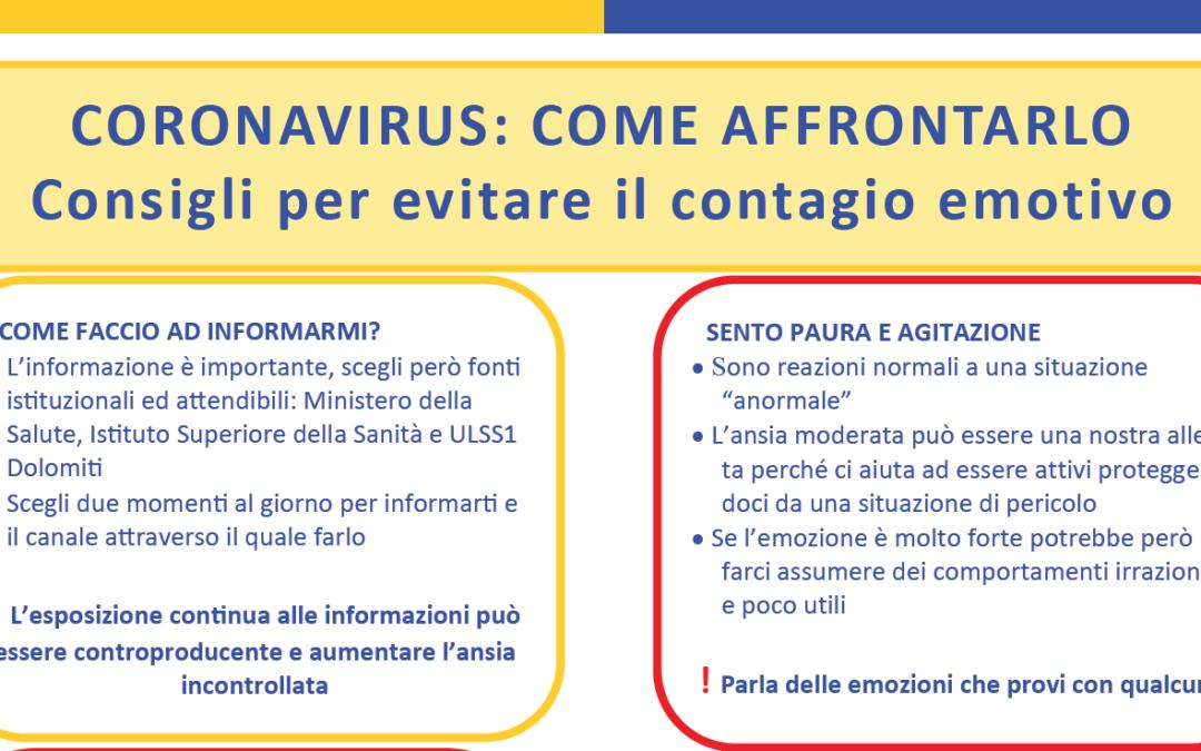 Coronavirus. Come evitare il contagio emotivo
