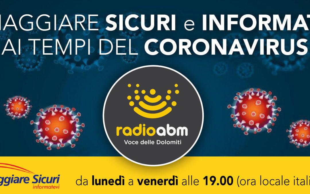 """38. Radio ABM trasmette un nuovo speciale """"Viaggiare sicuri e informati ai tempi del coronavirus"""""""