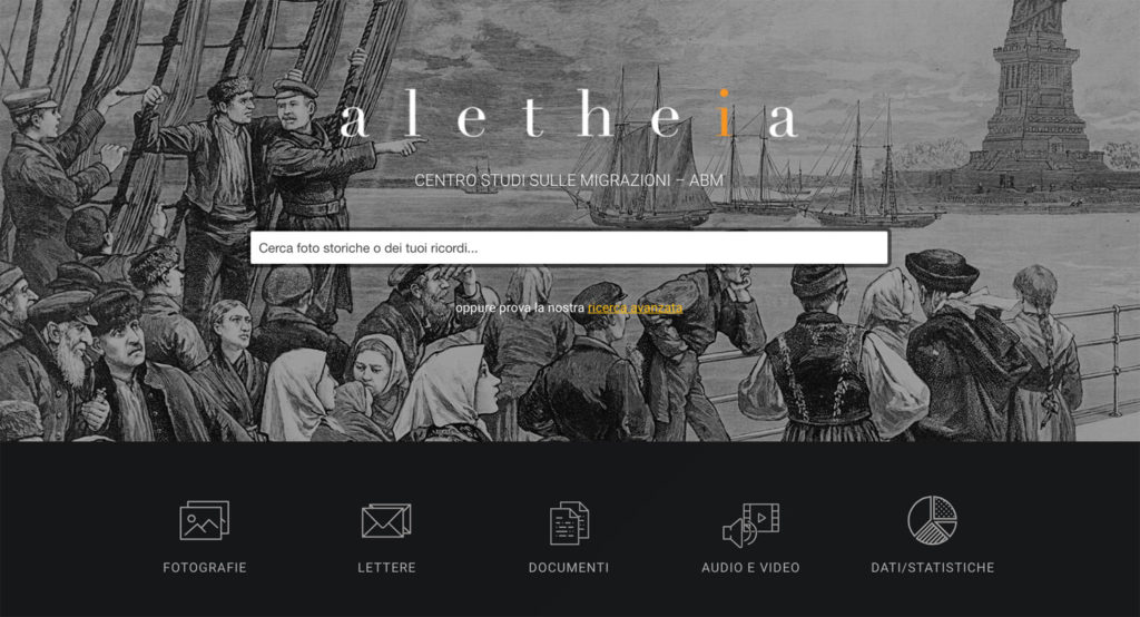 La schermata principale del sito Centrostudialetheia.it