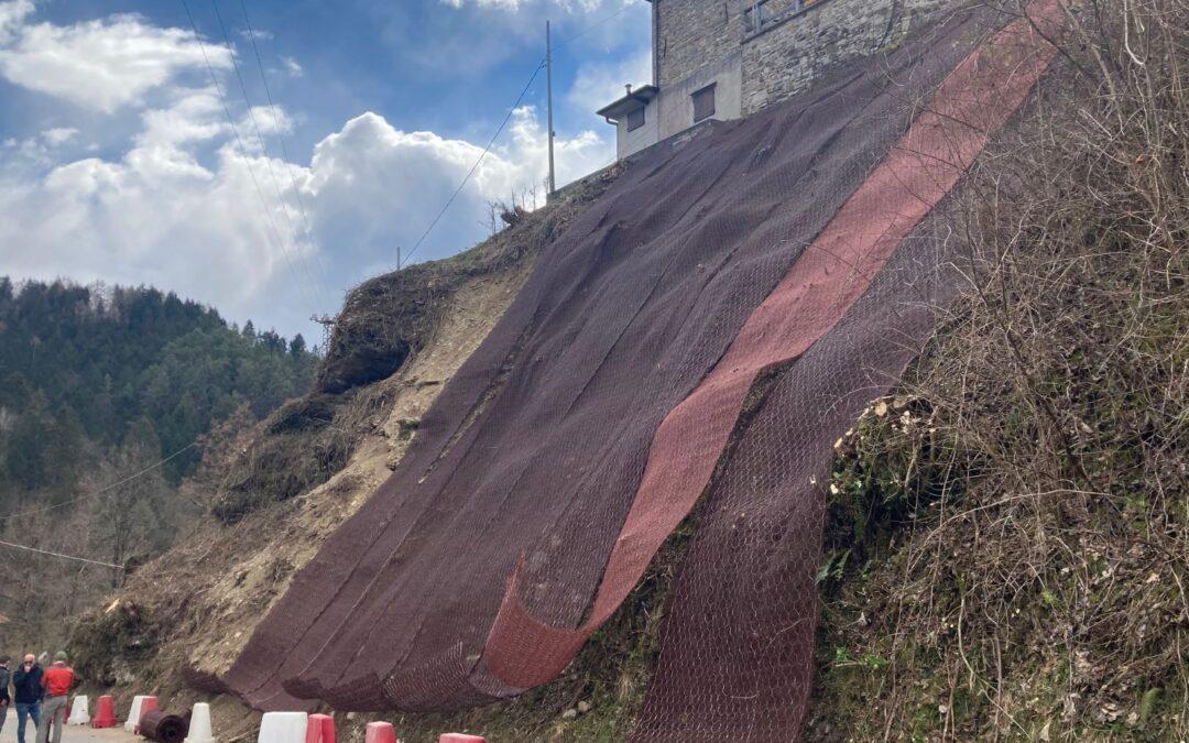 Frana a Pra de Luni (Belluno), proseguono i lavori di messa in sicurezza sulla strada per Case Bortot