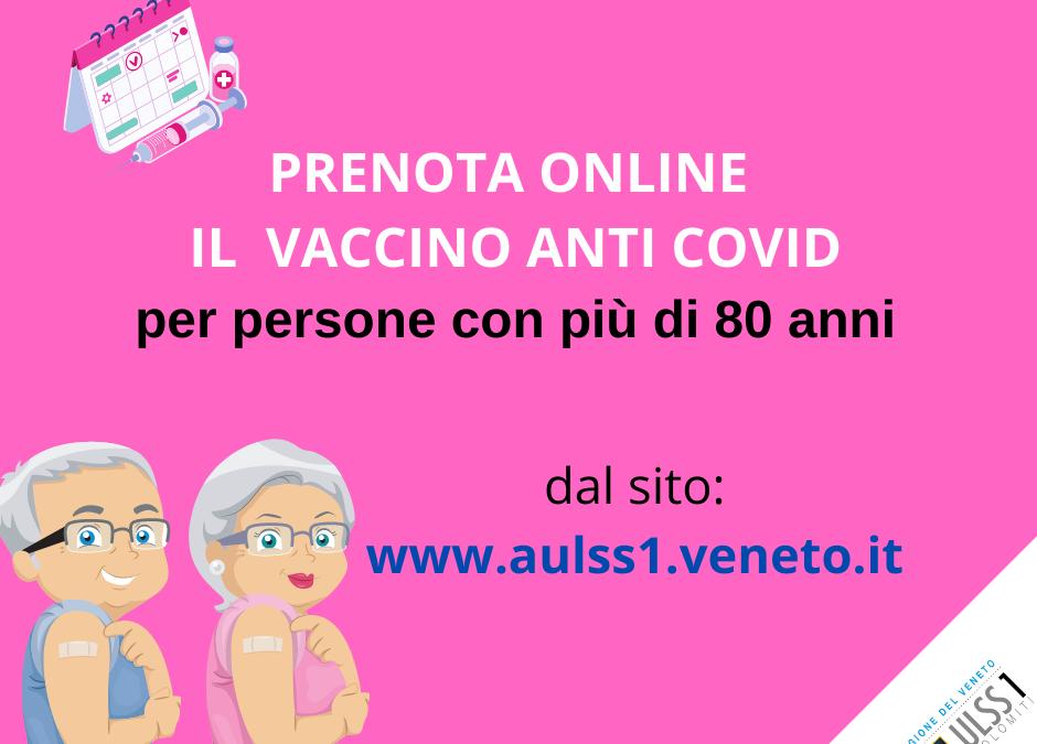 Vaccinazione anti-Covid: prenotazioni anche online per gli over 80