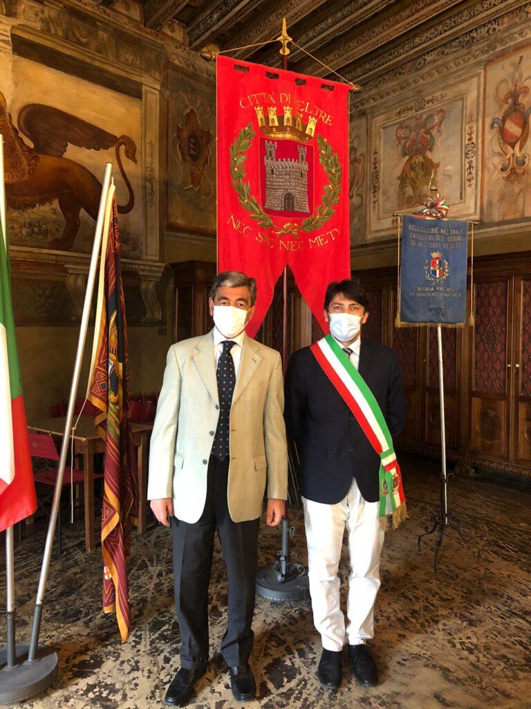 Da sinistra il prefetto di Belluno Savastano e il sindaco di Feltre Perenzin