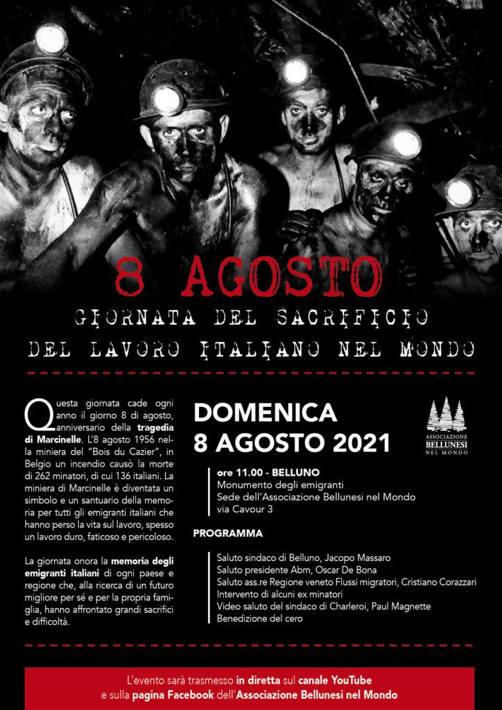 8 agosto. Giornata del sacrificio del lavoro italiano all'estero.